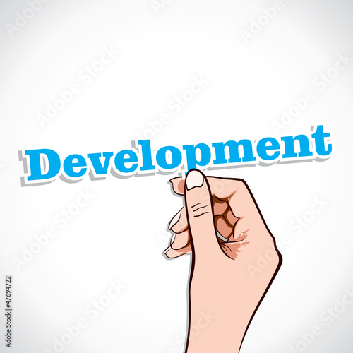 Developement word in hand stock vector