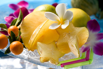 Exotic tropical fruits with tropical flowers . Hawaii, Maui, USA