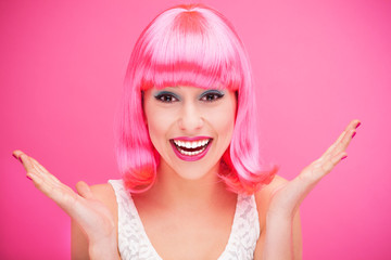 Pink hair girl laughing