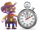 Cowboy next to a stopwatch