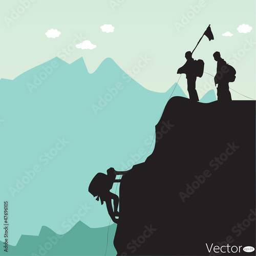 Vector black silhouette of a rock climber