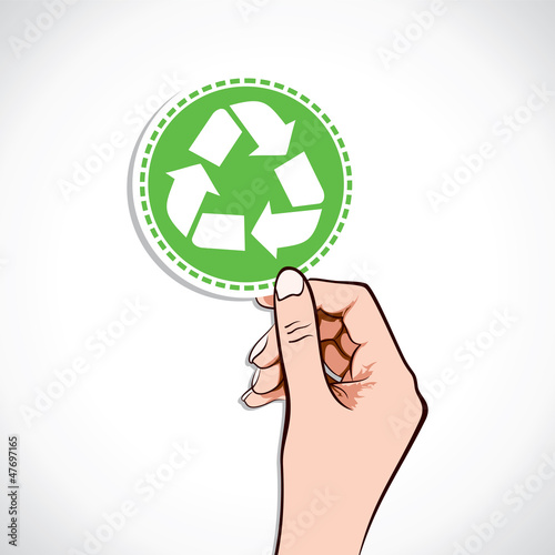 Recycle icon in hand stock vector