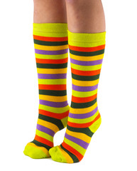 female legs in colorful striped socks isolated