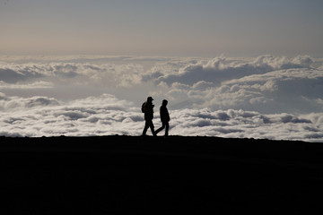 Haleakala volcano summit, over the clouds. Hawaii, Maui, USA