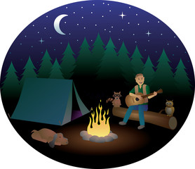 Man Playing Guitar while Camping