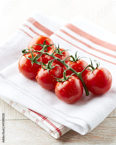Fresh cherry tomatoes on kitchen towels