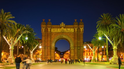BARCELONA-OCTOBER 29: Arc de Triomf, illuminated at night, Spain