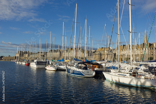 yachts in harbor of Saint Malo old town