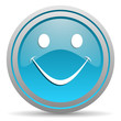 smile blue glossy icon on white background