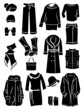 Winter clothing silhouettes