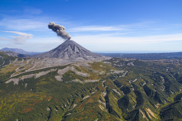 aerial kamchatka volkano Karymsky