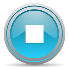 stop blue glossy icon on white background
