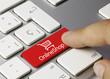 Online Shop keyboard key. Finger