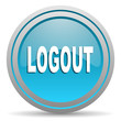 logout blue glossy icon on white background