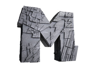 Stone Letter M in 3D