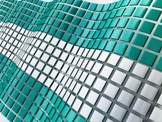 3D Illustration of Metallic Cubes Background