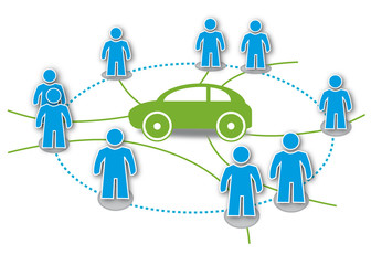 Carsharing Symbol, Logo, Piktogramm