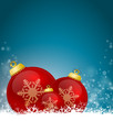 Blue Christmas Background with red bubbles