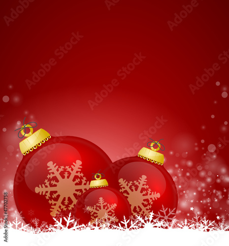Red Christmas Background with bubbles
