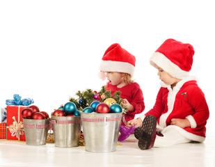 two surprised santa helpers