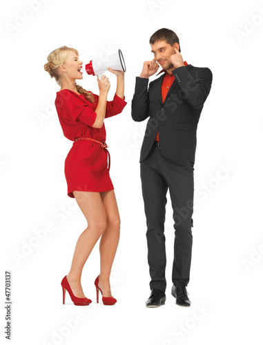 beautiful couple with megaphone