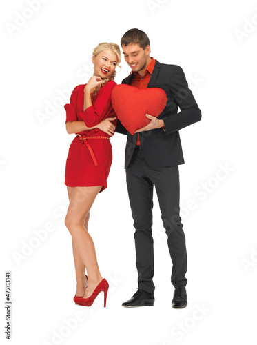 beautiful couple holding big heart