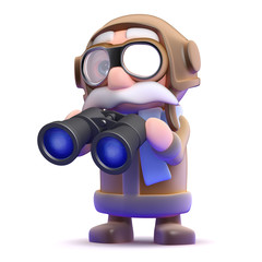 Pilot studies the skies with his binoculars