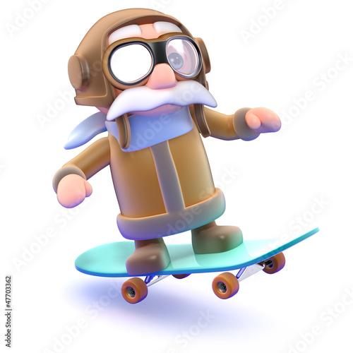 Pilot flies along on his skateboard