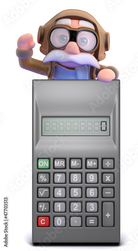 Pilot waving from atop a calculator