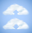 Cloud computing icon with arrow