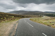 Highlands of Scotland road landscape in rain weather, Uk