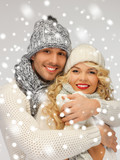 family couple in a winter clothes