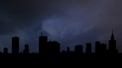 Poland Warsaw skyline storm