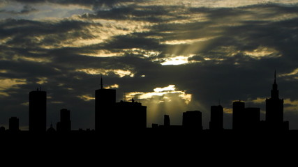 Poland Warsaw skyline sunbeams
