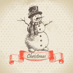 Christmas snowman. Hand drawn illustration