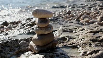 Stone balance on the beach