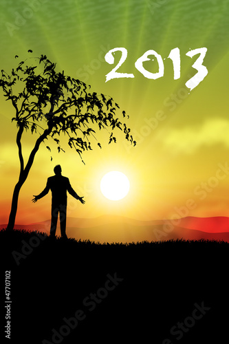 happy new year 2013 man standing