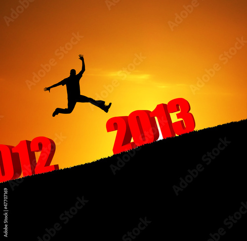 new year 2013 man jumping