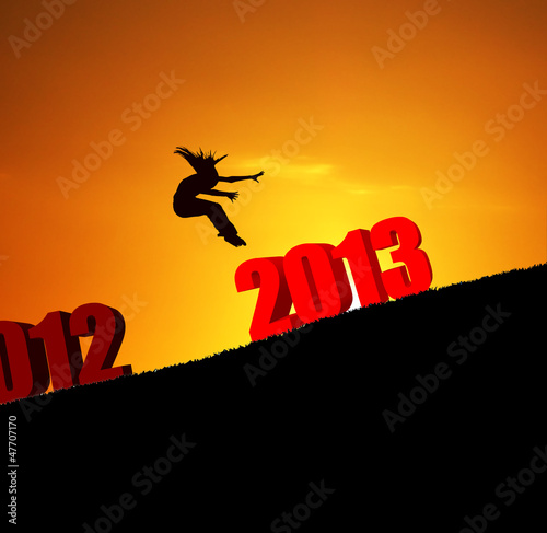 new year 2013 girl jumping