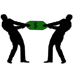 men pull dollar
