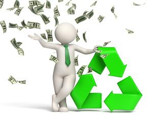 3d man recycle symbol with money rain