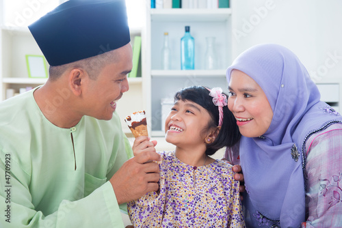 Asian family eat ice cream