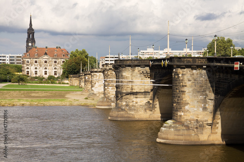 Cityscape with the Augustus bridge over Elbe river in Dresden
