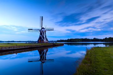 Dutch windmill in dusk, Groningen