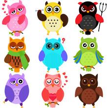 Ensemble de hiboux colorés avec des personnages différents
