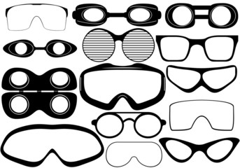 Illustration of different black goggles isolated on white