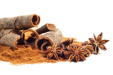 cinnamon and star anise on white background