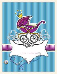 Kinderwagen mit Krönchen, Namenskarte