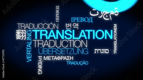 Translation services international word tag cloud animation