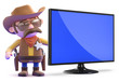 Cowboy next to a huge flatscreen television monitor